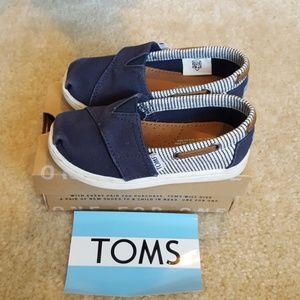 Toms Bimini navy canvas stripes slip on